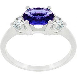 Kate Bissett Silvertone and Blue CZ Triplet Ring