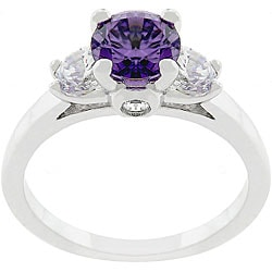 Kate Bissett Silvertone and Purple CZ Triplet Ring
