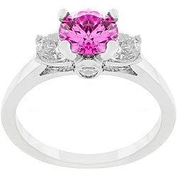 Kate Bissett Silvertone and Pink CZ Triplet Polished Ring