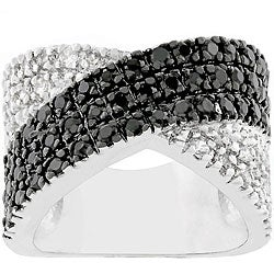 Kate Bissett Silvertone Jet Black and Clear CZ Ring