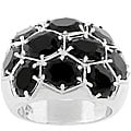 Kate Bissett Silvertone Black Dome Ring