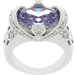 Kate Bissett Silvertone Contemporary Purple CZ Cocktail Ring