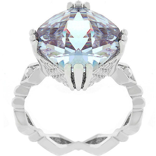 Kate Bissett Silvertone Contemporary Lavender CZ Cocktail Ring