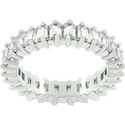 Kate Bissett Silvertone CZ Baguette Engagement-inspired Ring