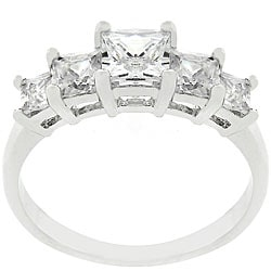 Kate Bissett Silvertone CZ Five-stone Engagement Ring