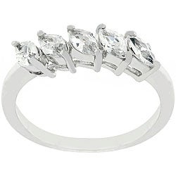 Kate Bissett Sterling Silver Five-stone Marquise-cut CZ Ring