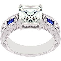 Kate Bissett Silvertone Blue and Clear CZ Fancy Ring