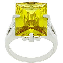 Kate Bissett Silvertone Huge Yellow CZ Contemporary Ring