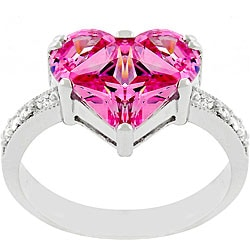 Kate Bissett Silvertone Pink Ice CZ Heart Promise Ring