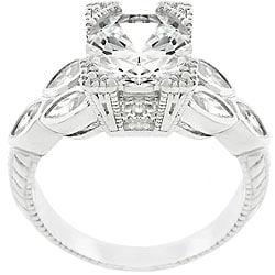 Kate Bissett Sterling Silver Vintage-inspired Cubic Zirconia Ring