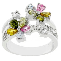 Kate Bissett Silvertone Multicolor Floral Ring