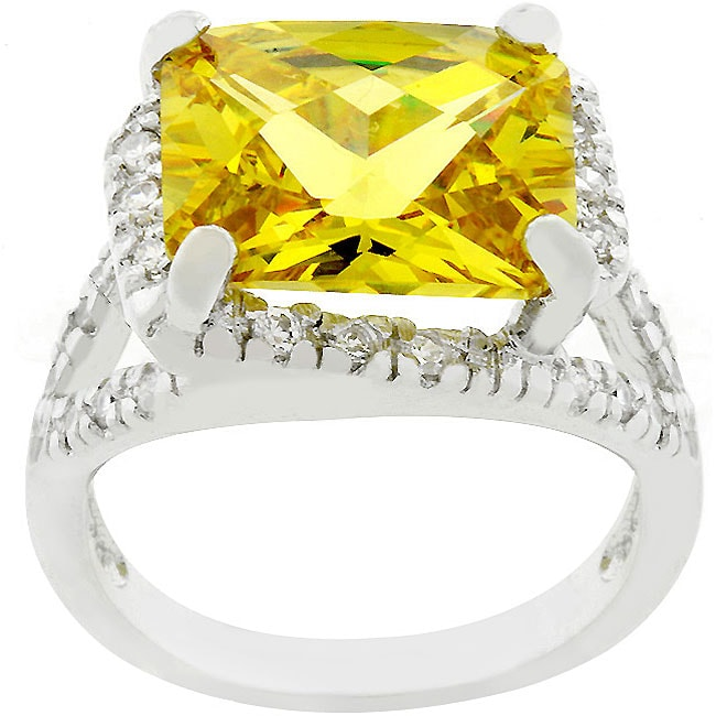 Kate Bissett Silvertone Yellow CZ Cocktail Ring