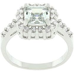 Kate Bissett Silvertone Asscher-cut Cubic Zirconia Classic Ring