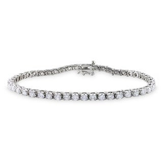 Miadora 14k White Gold 4ct TDW Diamond Tennis Bracelet (G-H, I1)