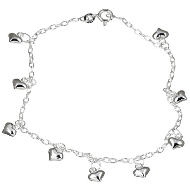 Sterling Essentials Sterling Silver 9-inch Dangling Heart Anklet