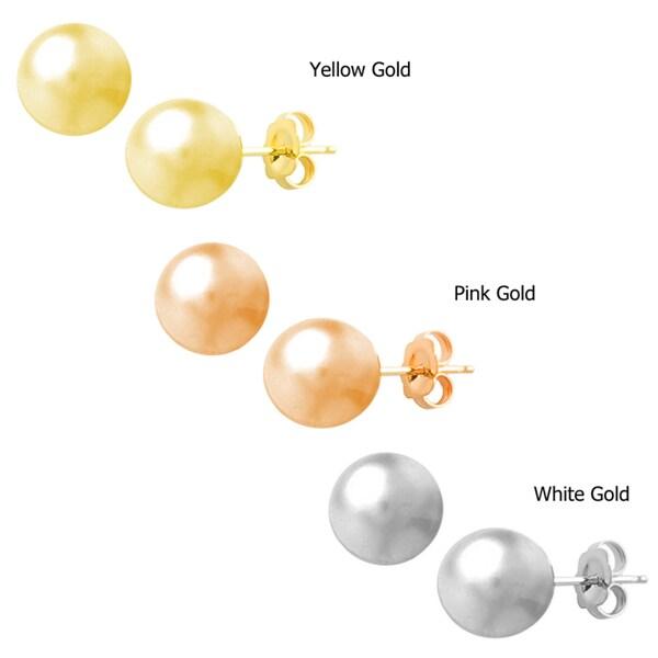 Fremada 14k Gold 4 mm Ball Earrings (White, Pink, or Yellow)