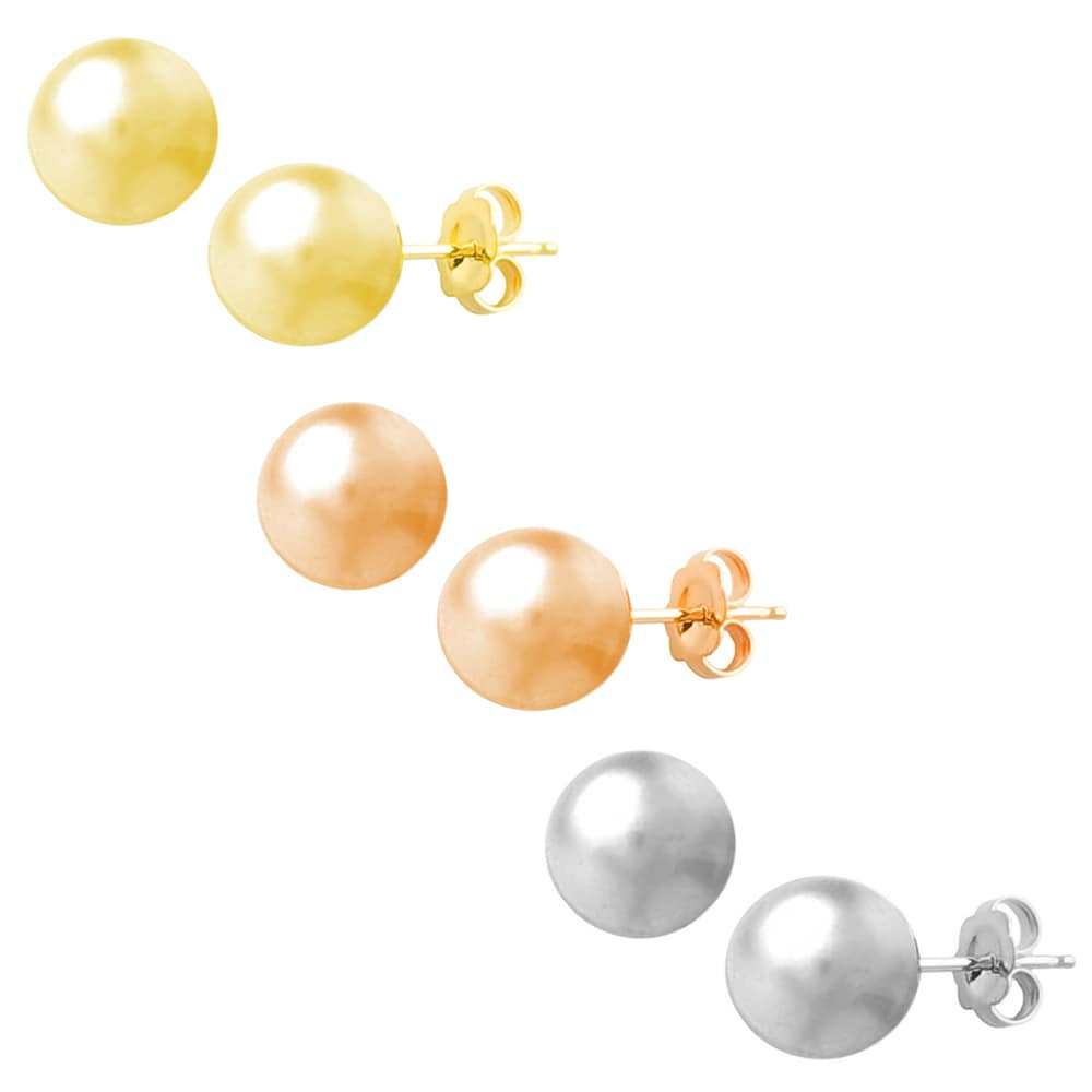 Fremada 14k Gold 6 mm Ball Earrings (White, Pink, or Yellow)