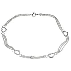 Sterling Essentials Sterling Silver 10-inch Triple Curb Link Heart Stations Anklet