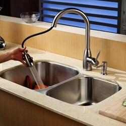 Kraus Kitchen Combo Set Stainless Steel Single Gooseneck Faucet
