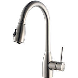 Kraus Stainless-Steel Single-Lever Pullout Sprayer Gooseneck Kitchen Faucet