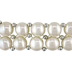 Miadora FW Pearl and Silver Bead 2-row Elastic Bracelet (6.5-7 mm)