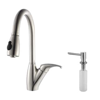 Kraus Chrome-Colored Stainless-Steel Pull-Out Kitchen Faucet and Soap Dispenser