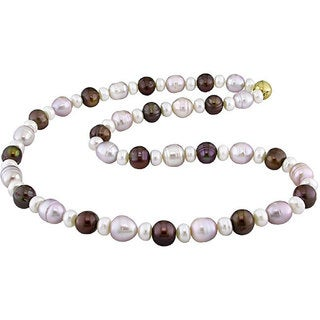 M by Miadora Multi-colored Cultured Freshwater Pearl Necklace (8-9 mm)