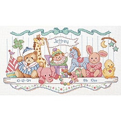 Toy Shelf Birth Record Counted Cross Stitch Kit