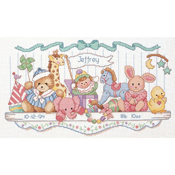 Toy Shelf Birth Record Counted Cross Stitch Kit 4027406