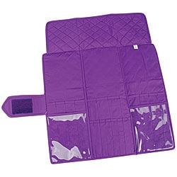 Velcro-closure Purple 20-pocket Quilted Cotton Knitting Needle Case