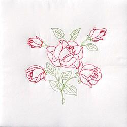 Stamped Rose White Quilt Set (Set of 6)