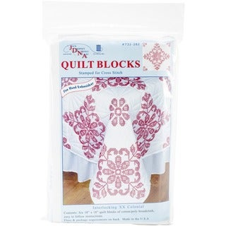 Colonial-Williamsburg-Patterned Stamped White Quilt Blocks