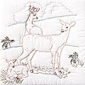Stamped White Deer Family Quilt Blocks (Set of 6)