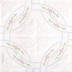 Stamped White Wedding Ring Quilt Blocks (Set of 6)