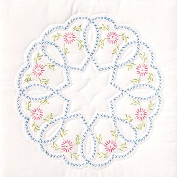 Stamped White Starburst of Hearts Quilt Blocks (Set of 6)