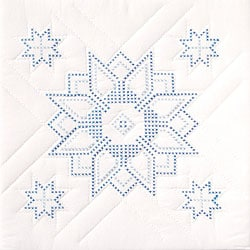 Stamped White Star Quilt Blocks (Set of 6)