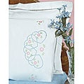 Stamped Pillowcases with White Lace Edge and Hearts Design