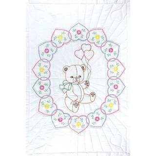 Bear with Balloons Stamped Quilt Crib Top