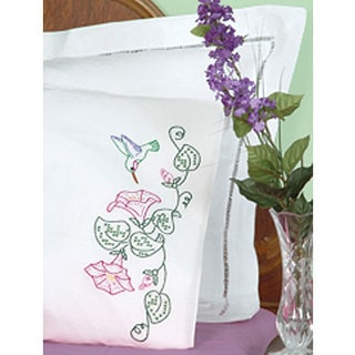 Hummingbird Stamped Pillowcases (Set of 2)