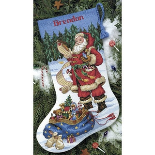 'Checking His List' Counted Cross Stitch Stocking Kit