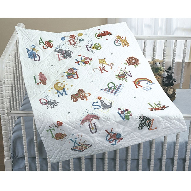 'Alphabet Dreams' Stamped Cross Stitch Quilt Top