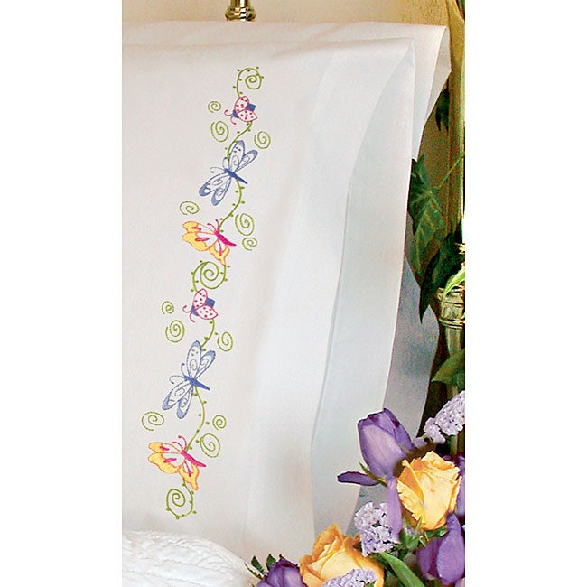 Butterflies Stamped Embroidery Pillowcases (Set of 2) - Overstock ...
