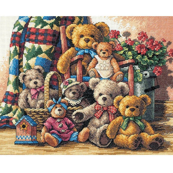 Gold Collection Teddy Bear Counted Cross Stitch Kit