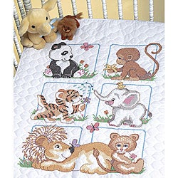 Animal Babies Stamped Cross Stitch Quilt Kit
