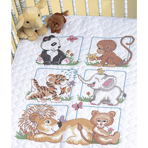 Animal Babies Stamped Cross Stitch Quilt Kit