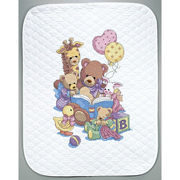 Baby Hugs Teddy And Friends Stamped Cross Stitch Kit