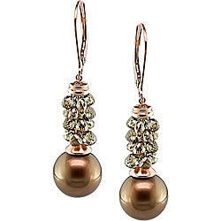 14k Gold Pearl 5 3/4ct TDW Brown Diamond Earrings (10-11 mm)