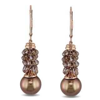 Miadora Signature Collection 14k Gold Pearl 5 3/4ct TDW Brown Diamond Earrings (10-11 mm)
