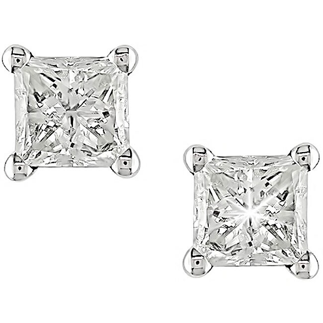 Miadora 14k Gold 7/8ct TDW Princess-cut Diamond Earrings (G-H, I1)