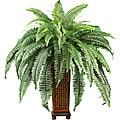 Silk Boston Fern Plant with Wood Vase